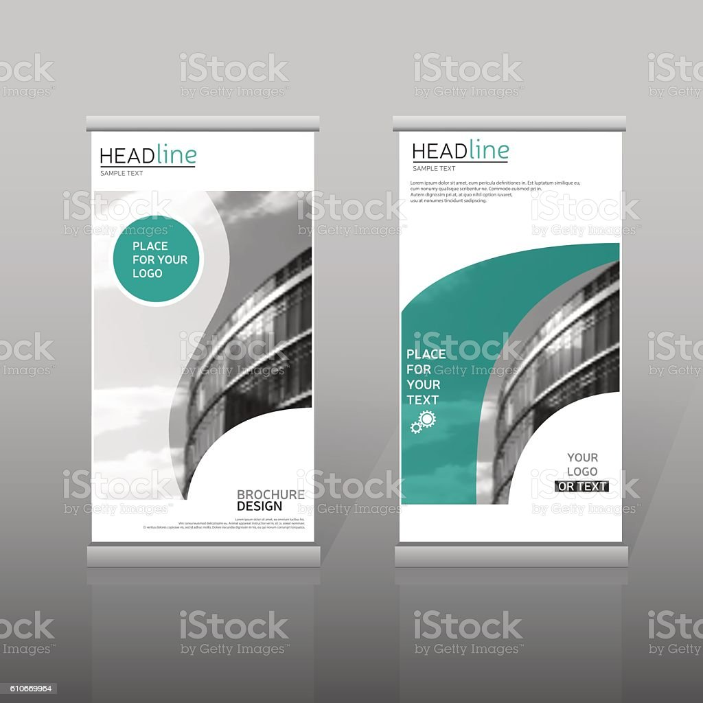 Green roll up business brochure flyer banner design vertical template - Green Roll Up Brochure Template Vertical Banner Design Royalty Free Stock Vector