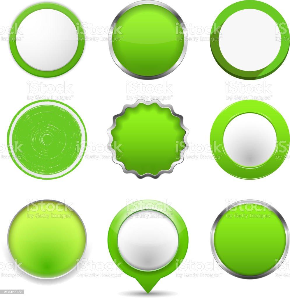Green Round Buttons vector art illustration