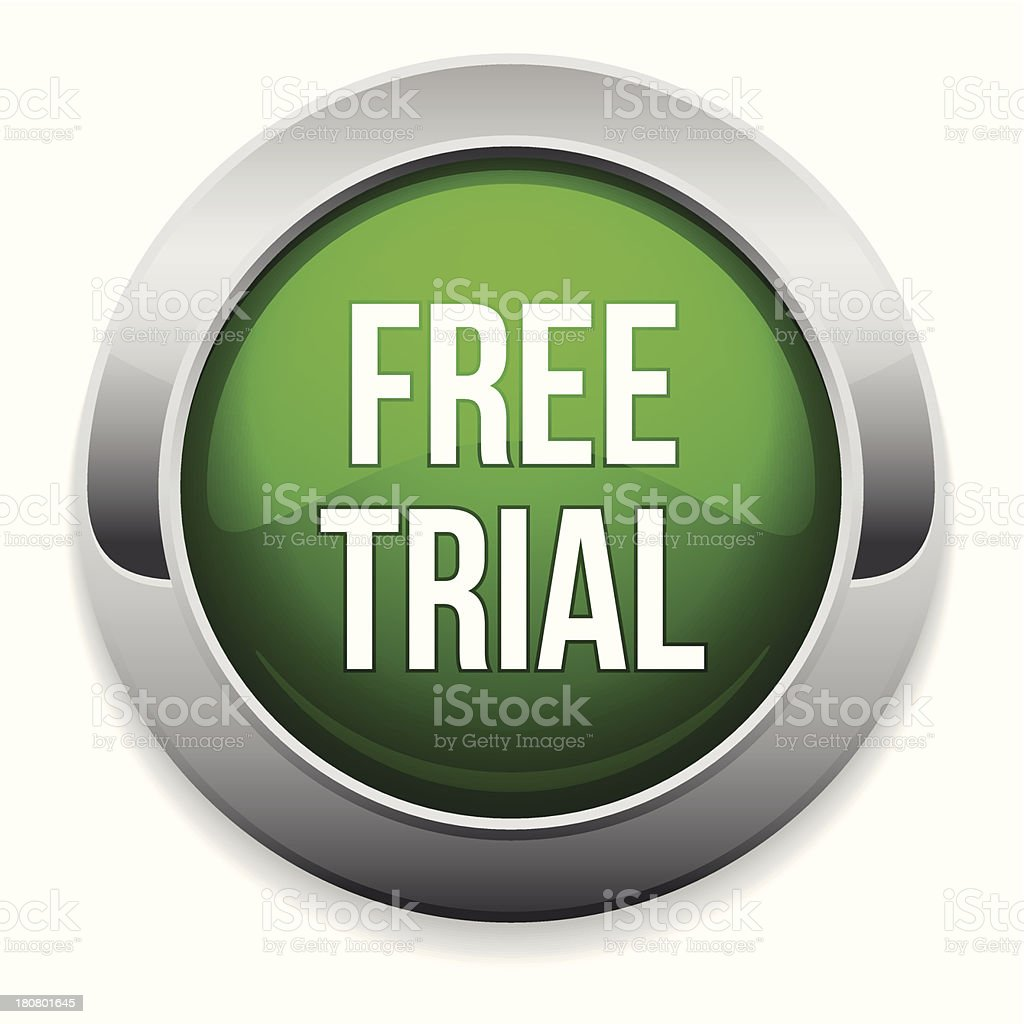 Green round free trial button royalty-free stock vector art