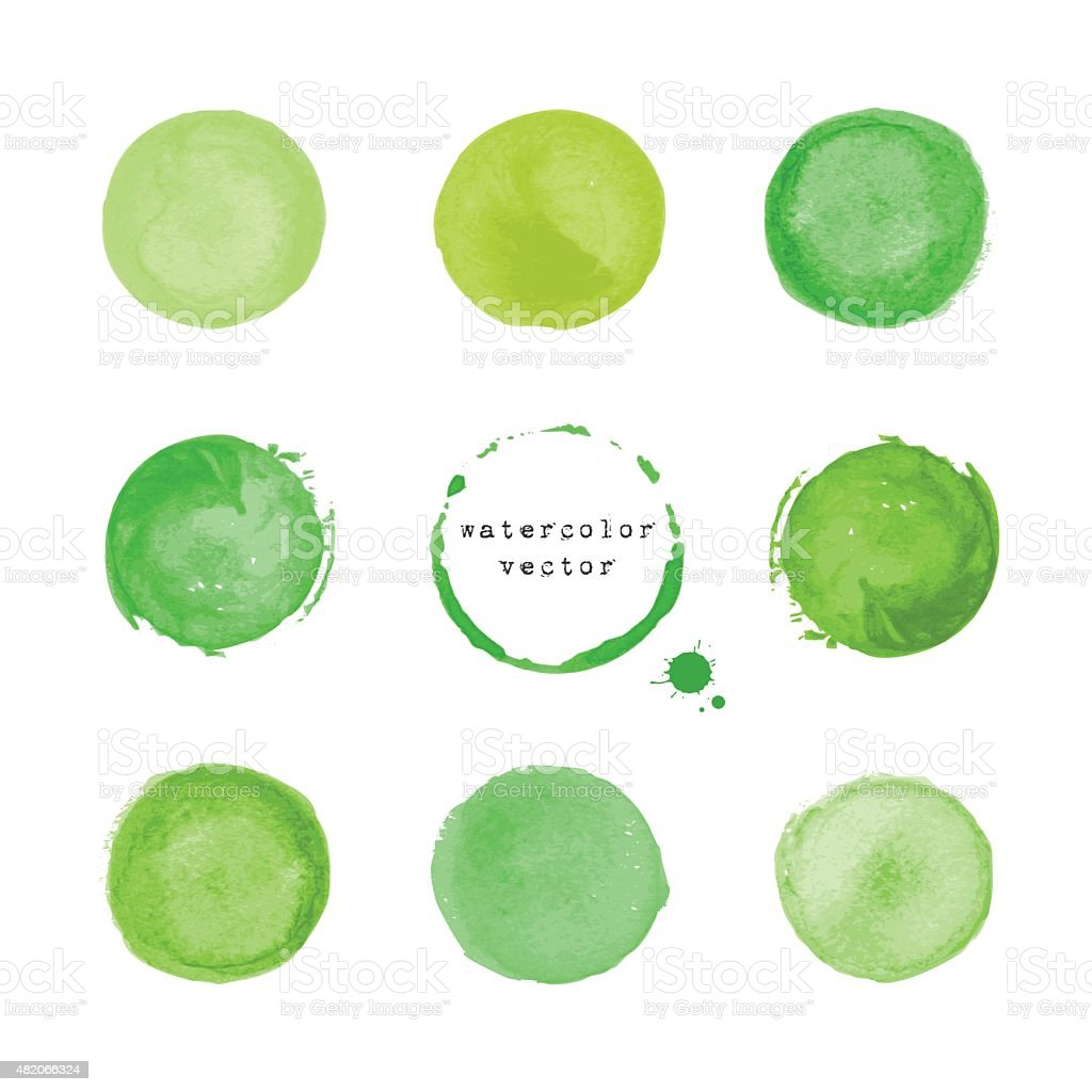 Green round stains and blots vector art illustration