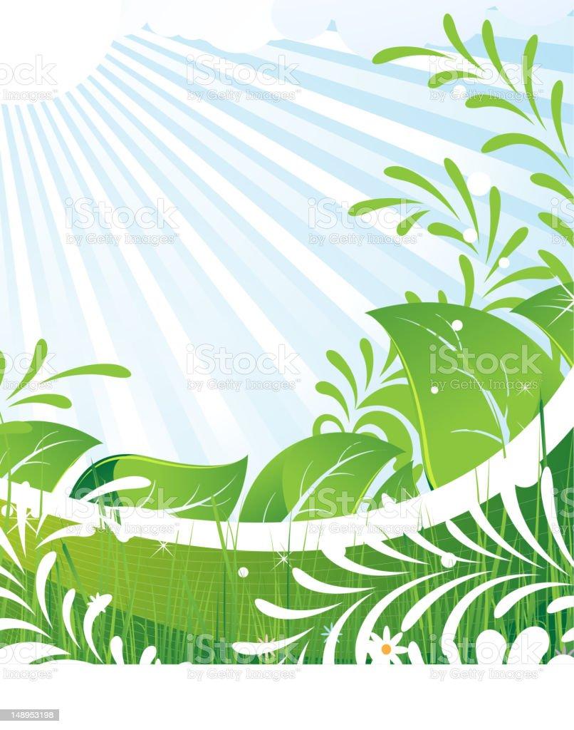 Green rural meadow vector art illustration