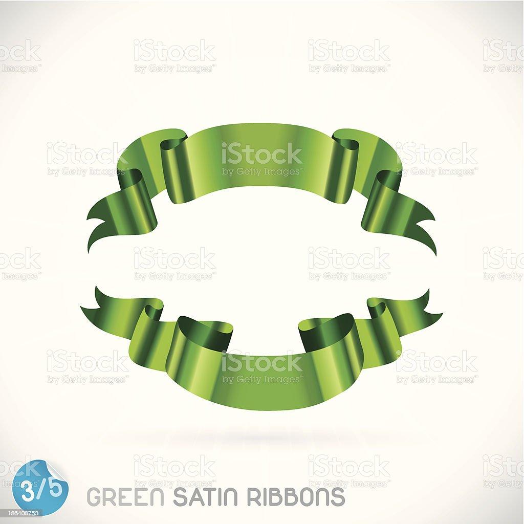 Green Satin Ribbons vector art illustration