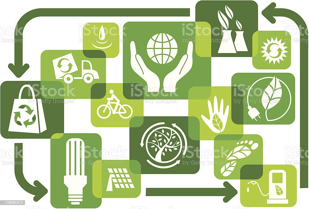 Green scheme with icons vector art illustration