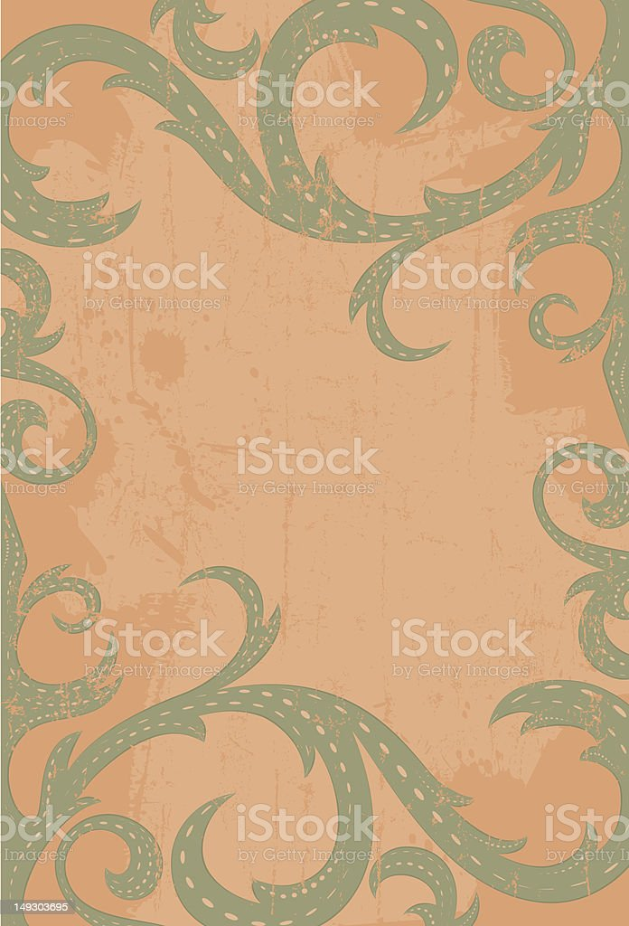 Green scroll frame royalty-free stock vector art