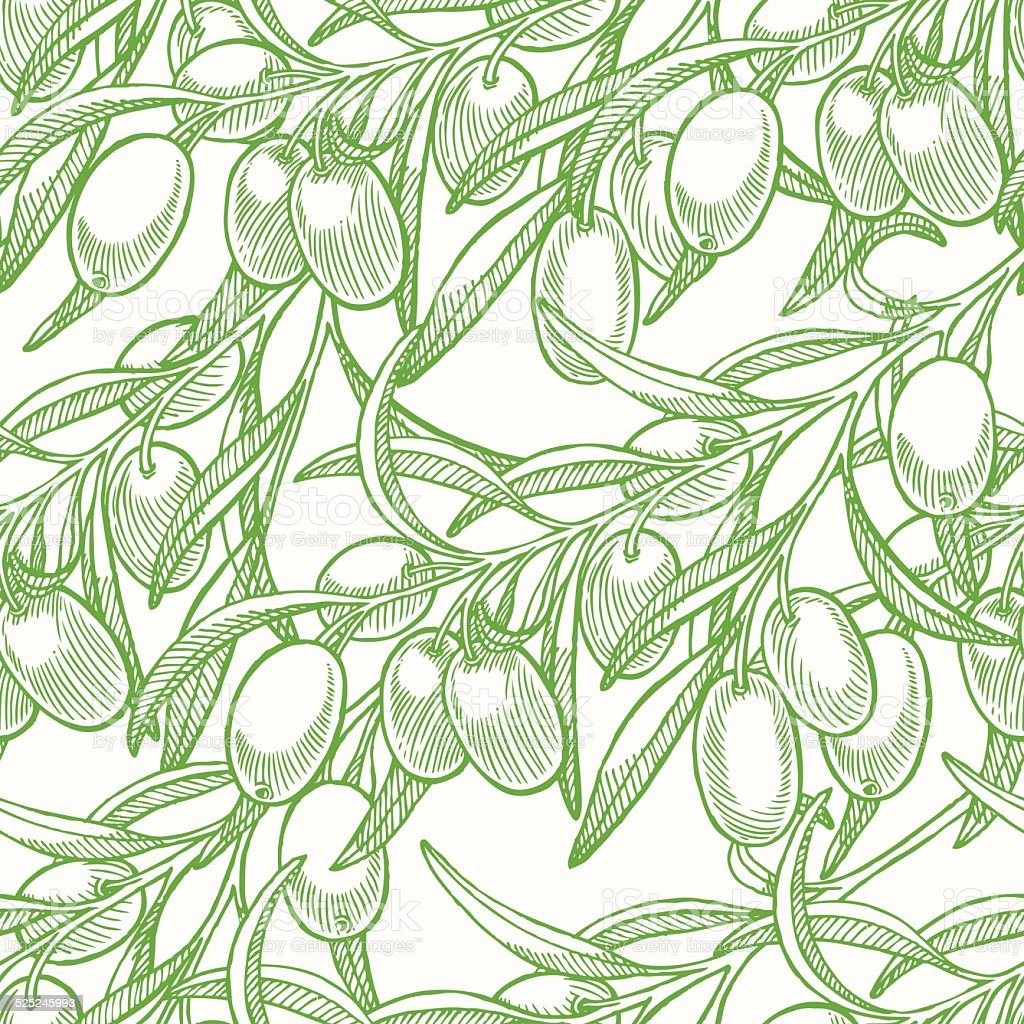 green seamless background with olives vector art illustration