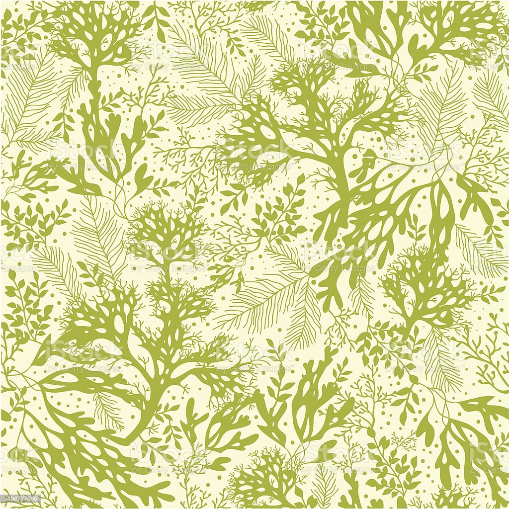 Green Seaweed Seamless Pattern Background vector art illustration