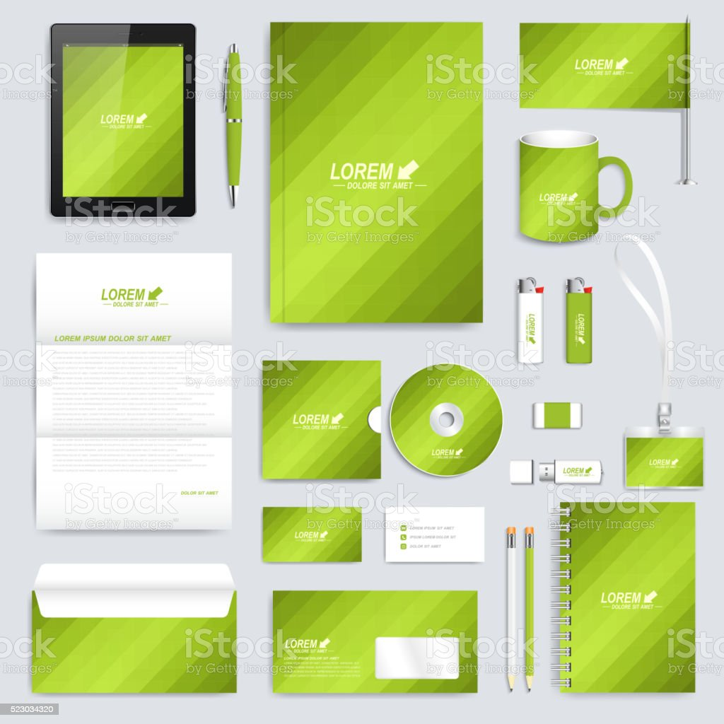 Green set of vector corporate identity template. Modern business stationery vector art illustration