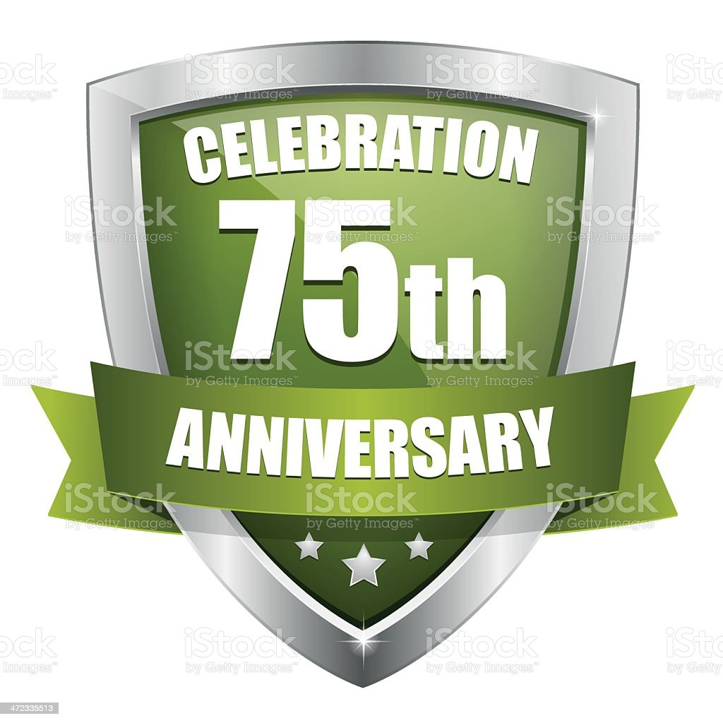 Green seventy-five year anniversary button royalty-free stock vector art