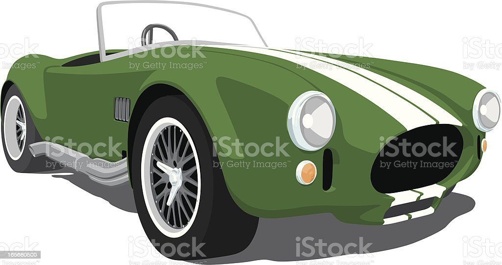Green Shelby Cobra Roadster vector art illustration