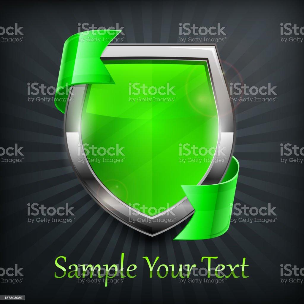 Green shield on black royalty-free stock vector art