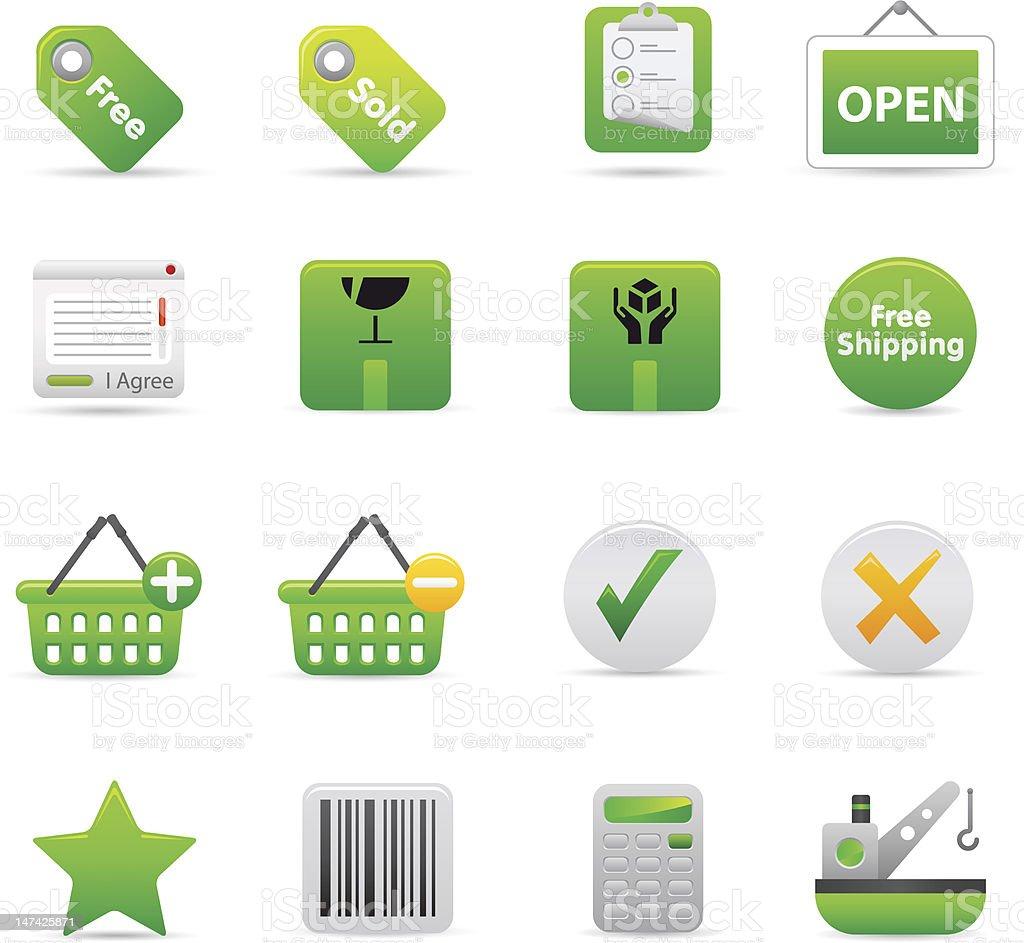 Zielone zakupy ikony stockowa ilustracja wektorowa royalty-free