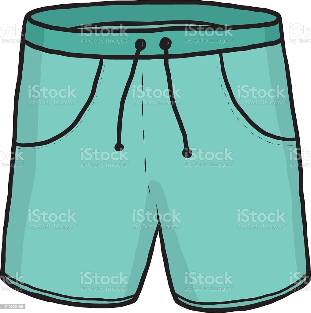 green shorts vector art illustration