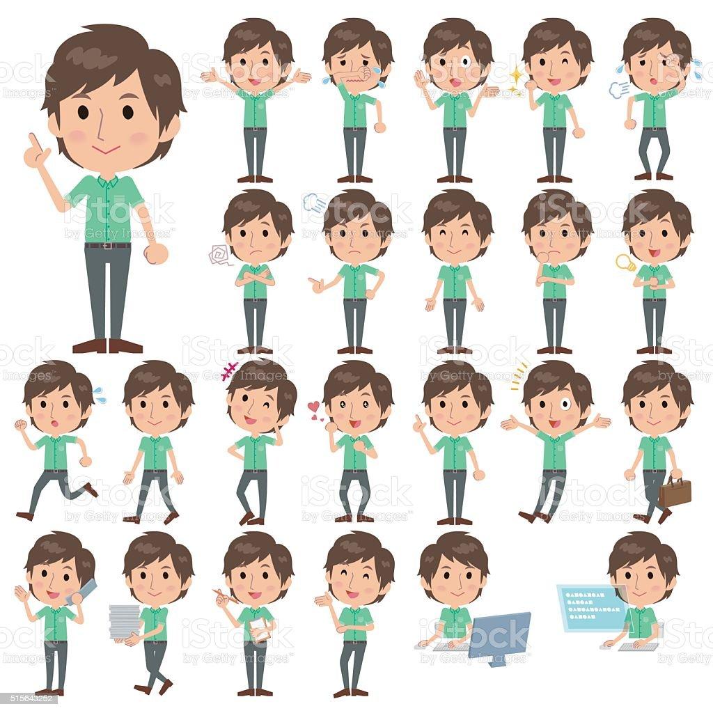 Green shortsleeved shirt Men vector art illustration