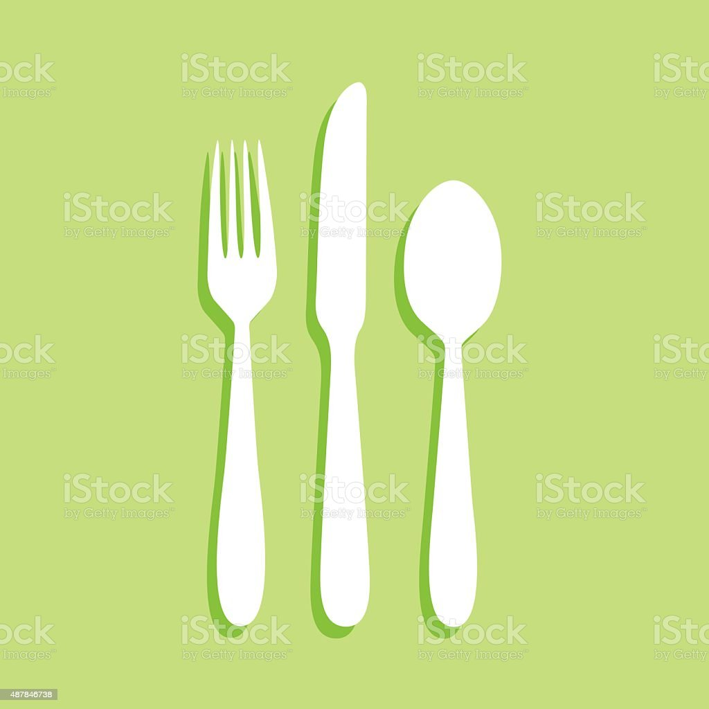 Green Silverware Icon vector art illustration