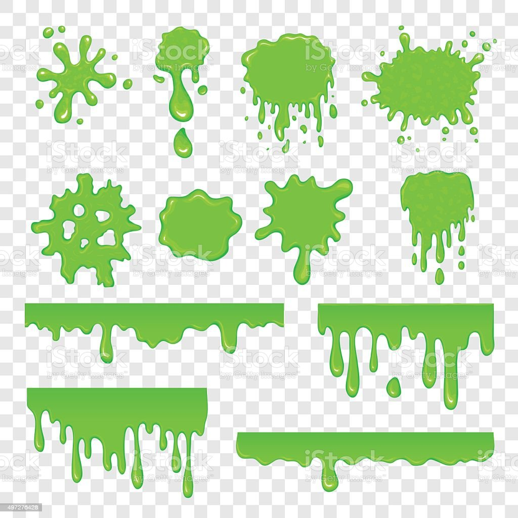 Green slime set vector art illustration