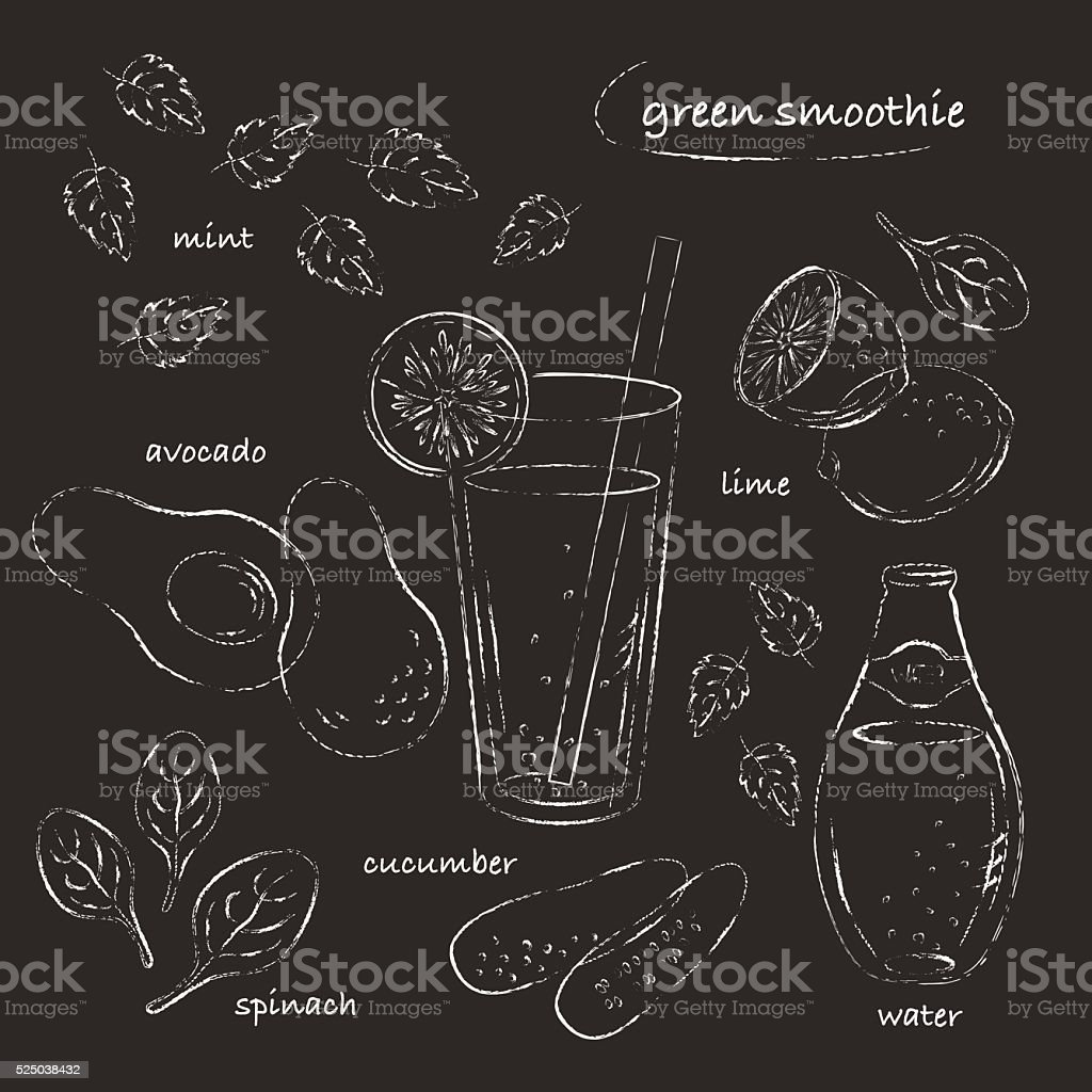 Green smoothie glass and ingredients recipe chalk line sketch vector art illustration