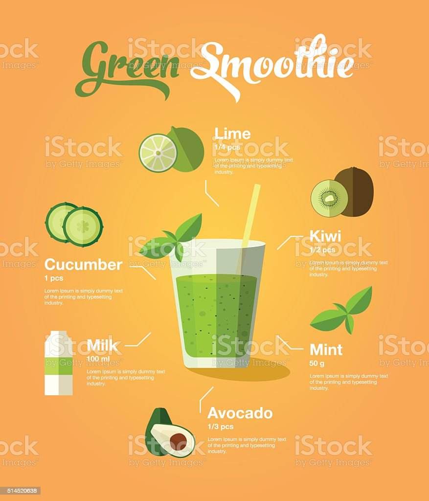 green smoothie vector art illustration