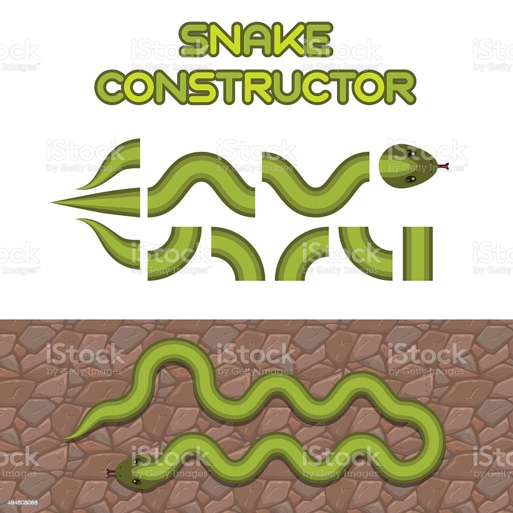 Green snake body elements vector art illustration