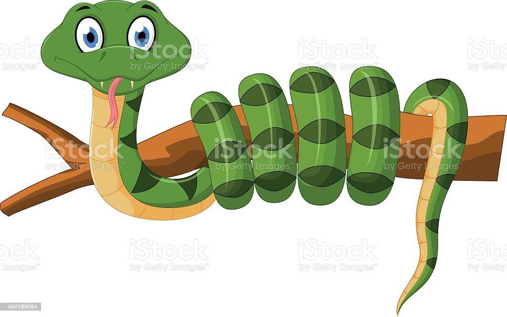 Green snake cartoon on branch vector art illustration