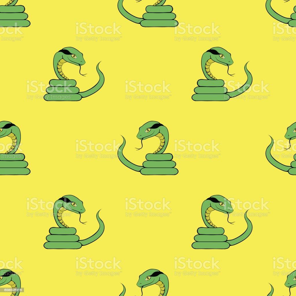 Green Snake Seamless Pattern vector art illustration