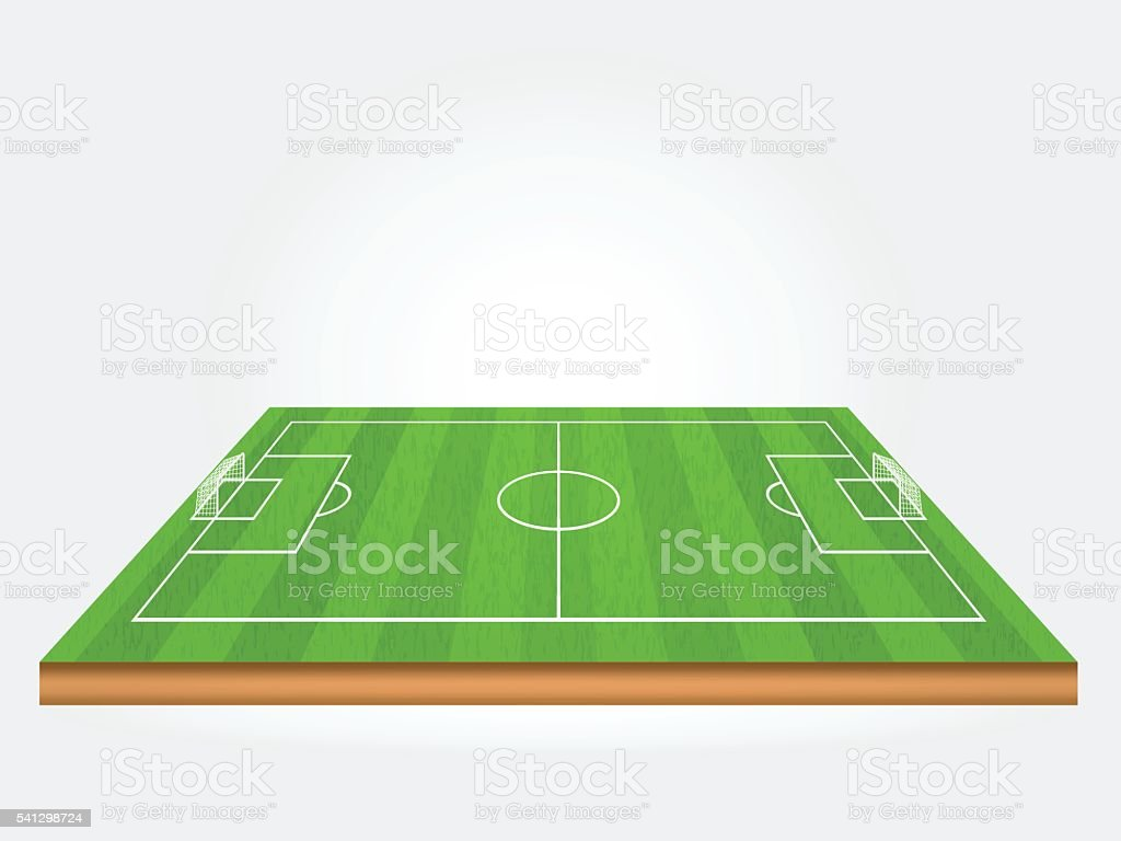 green soccer field or football field with shade vector art illustration