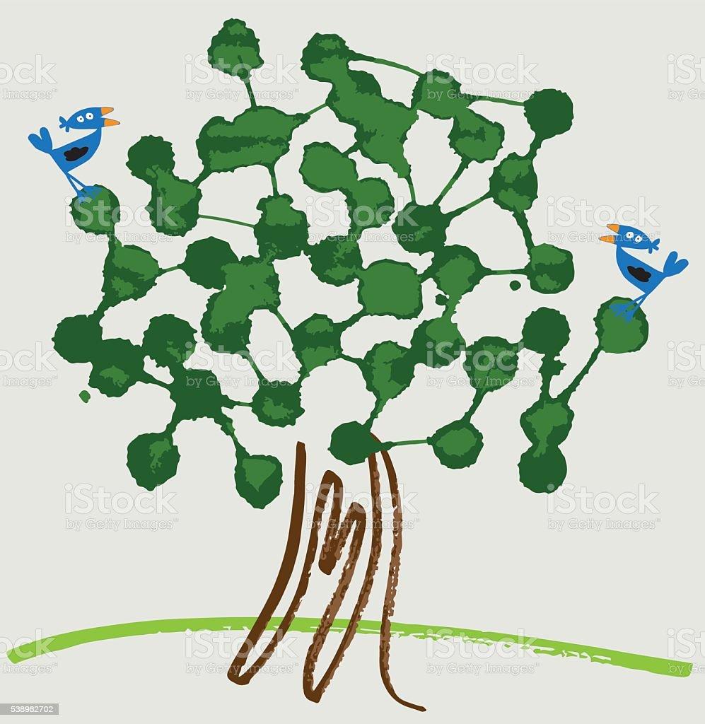 Green social network vector art illustration
