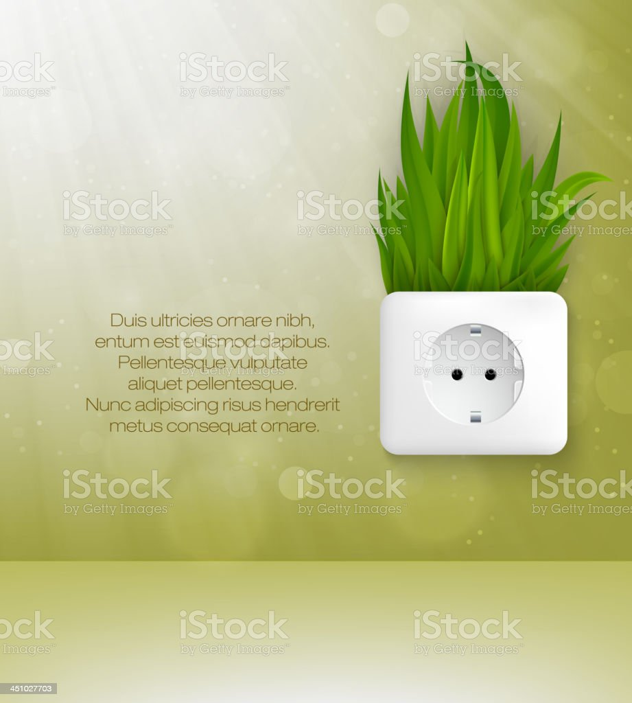 Green socket with grass royalty-free stock vector art