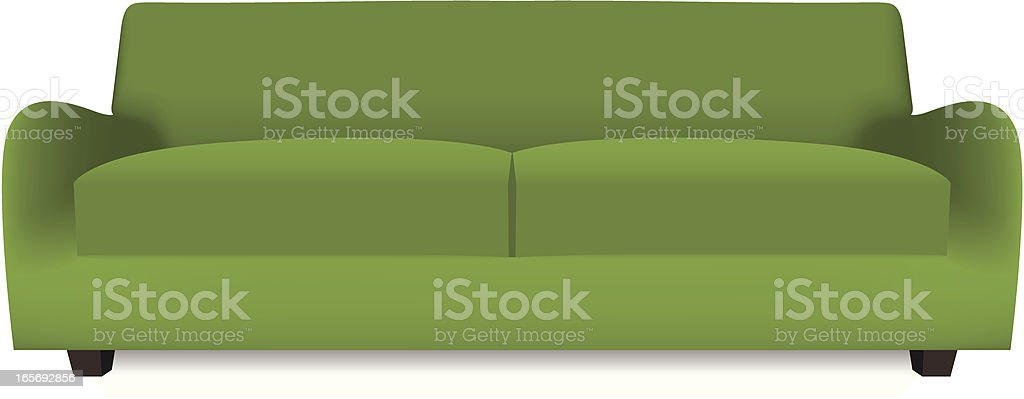 A 3D green sofa vector on a white background vector art illustration