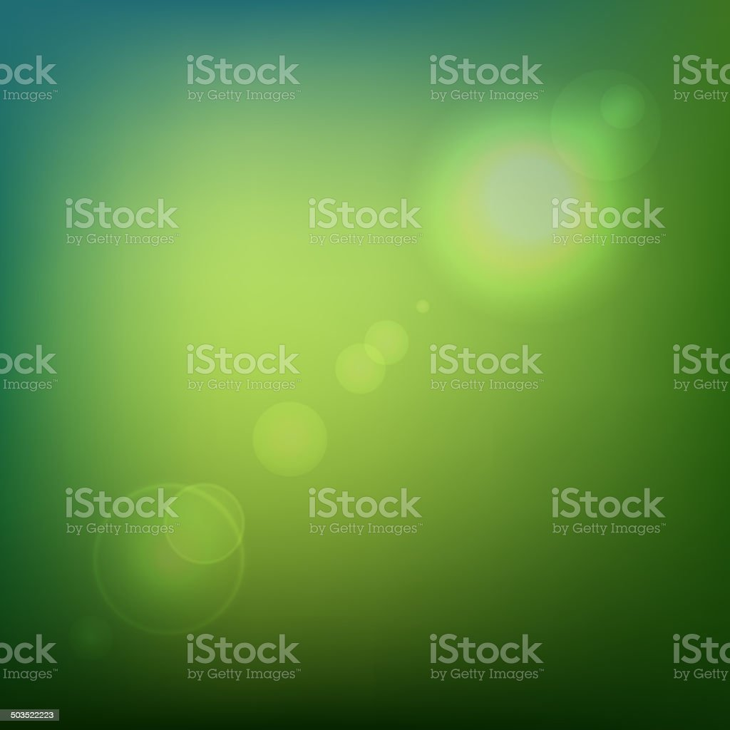Green Soft Colored Abstract Background with Lens Flare Light. Vector royalty-free stock vector art