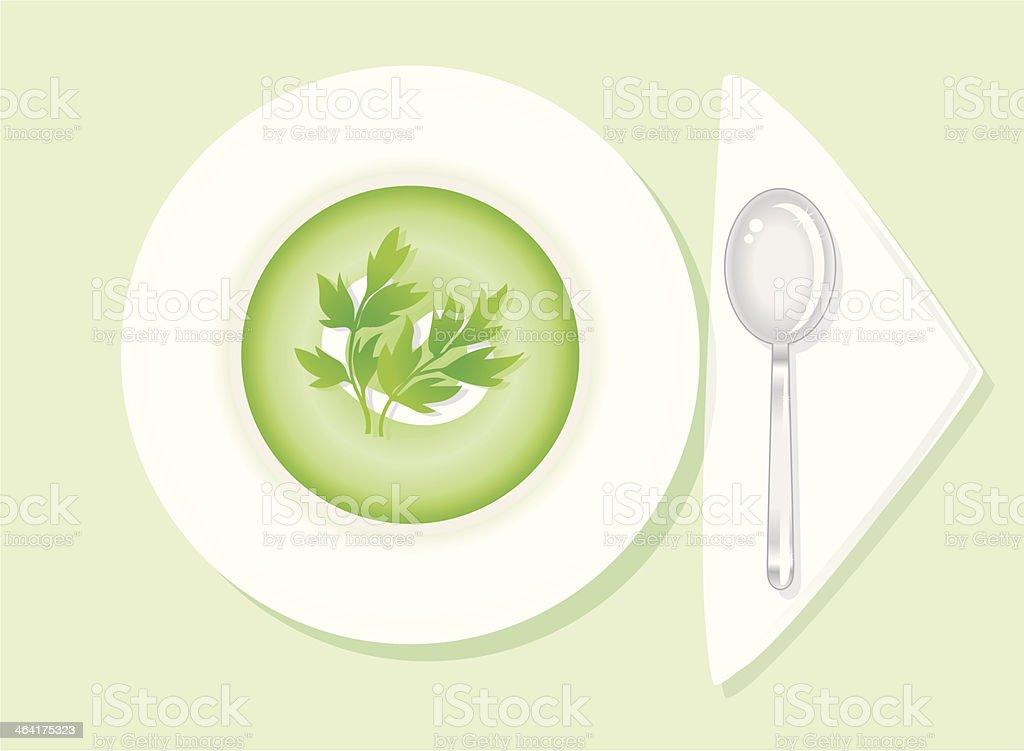 green Soup vector art illustration