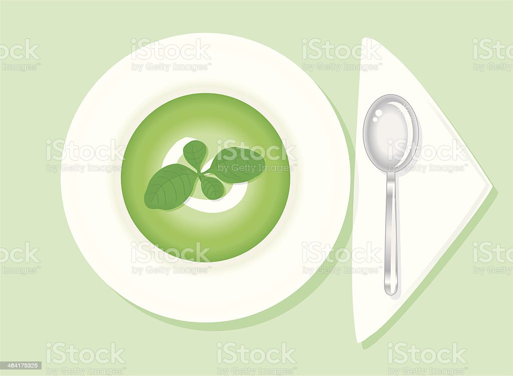 green Soup with basil vector art illustration