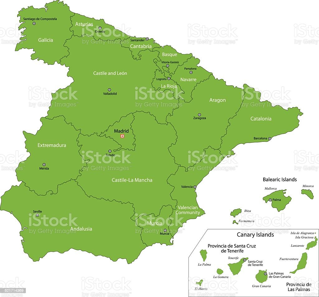 Green Spain map vector art illustration