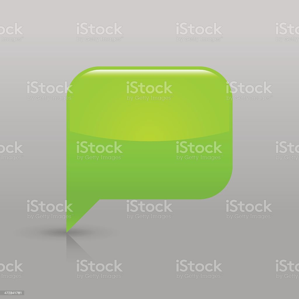 Green speech bubble sign glossy icon empty rectangle pictogram royalty-free stock vector art