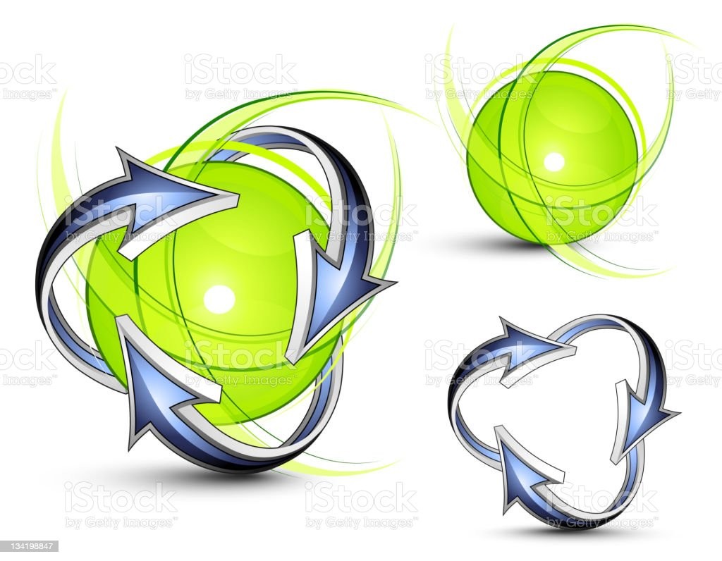 Green sphere with arrows.  Business logo royalty-free stock vector art