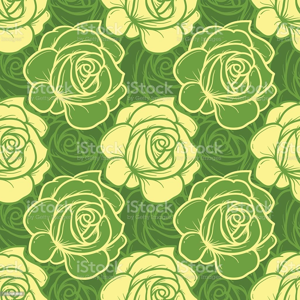 Green Spring Rose Flower Seamless Pattern vector art illustration
