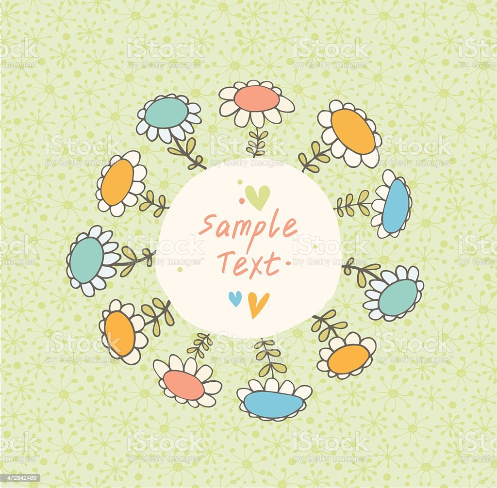 Green spring seamless banner with drawn flowers royalty-free stock vector art