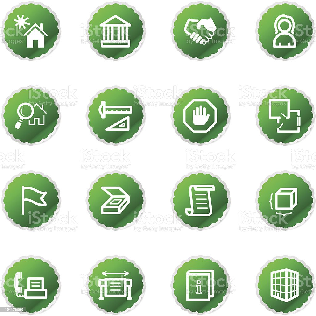 green sticker building icons royalty-free stock vector art