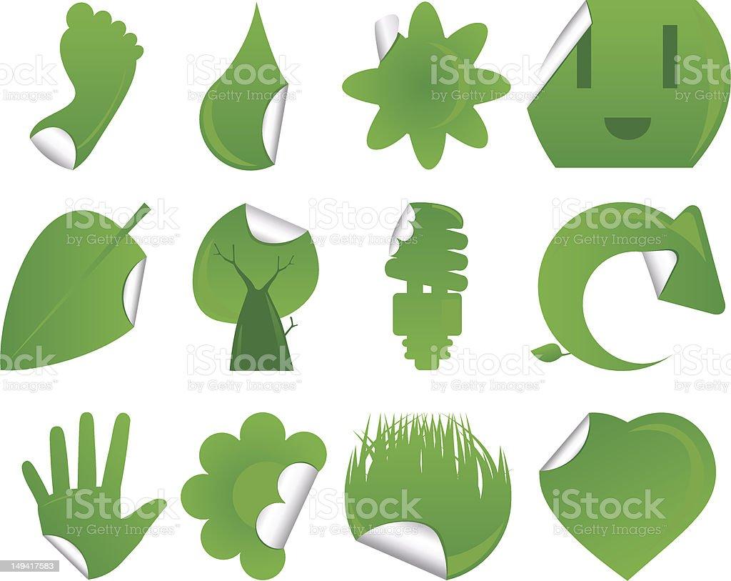 Green Sticker Icon Set royalty-free stock vector art