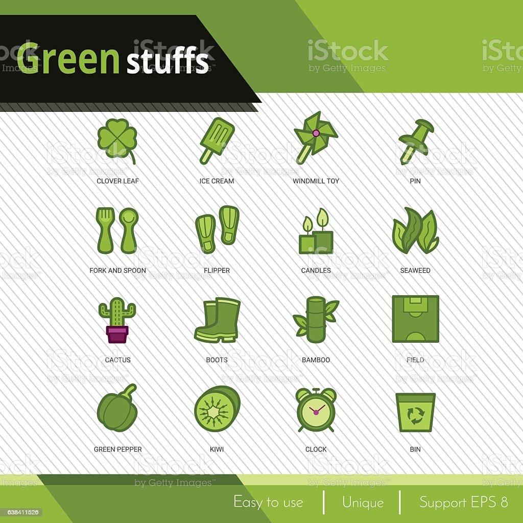 Green stuffs vector icons set on white background. vector art illustration