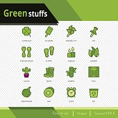 Green stuffs vector icons set on white background.