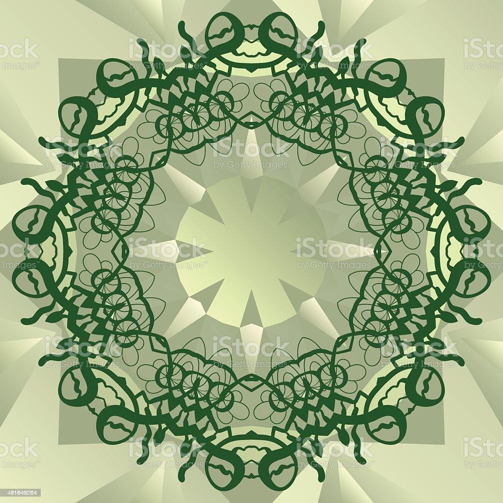 Green stylized mandala blank center for ext banner vector vector art illustration