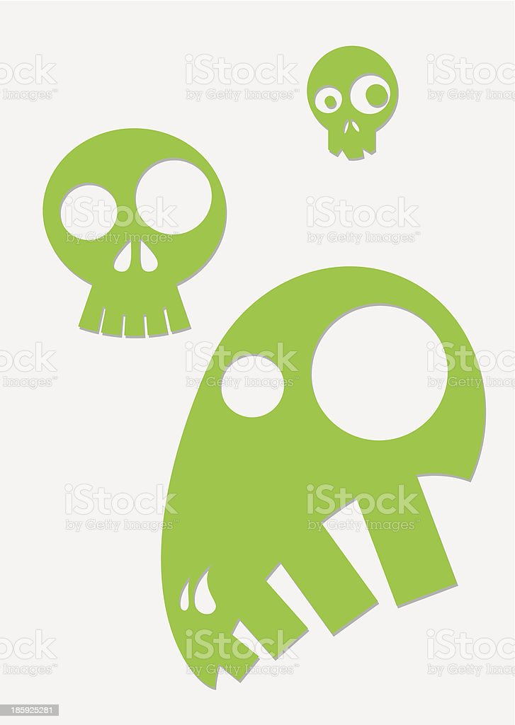 green stylized skull royalty-free stock vector art