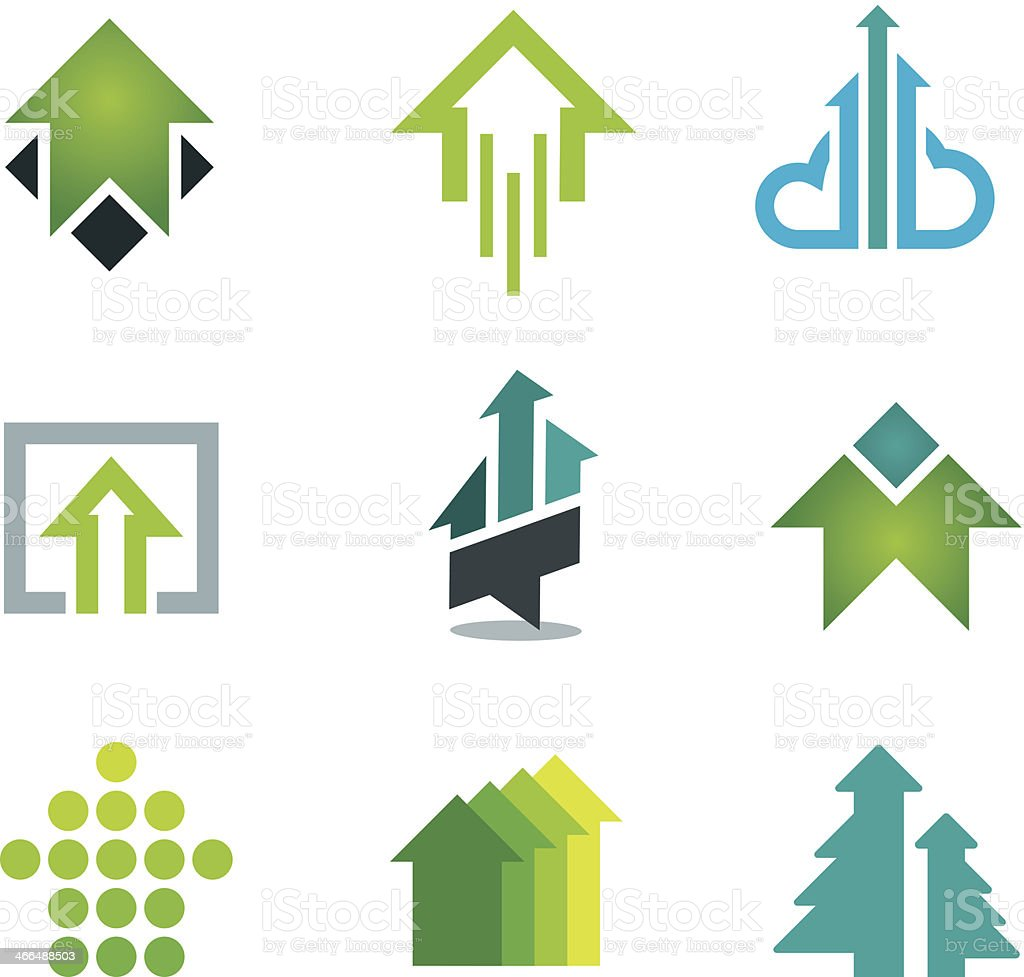 Green success business icons set in motivation economy finance banking vector art illustration