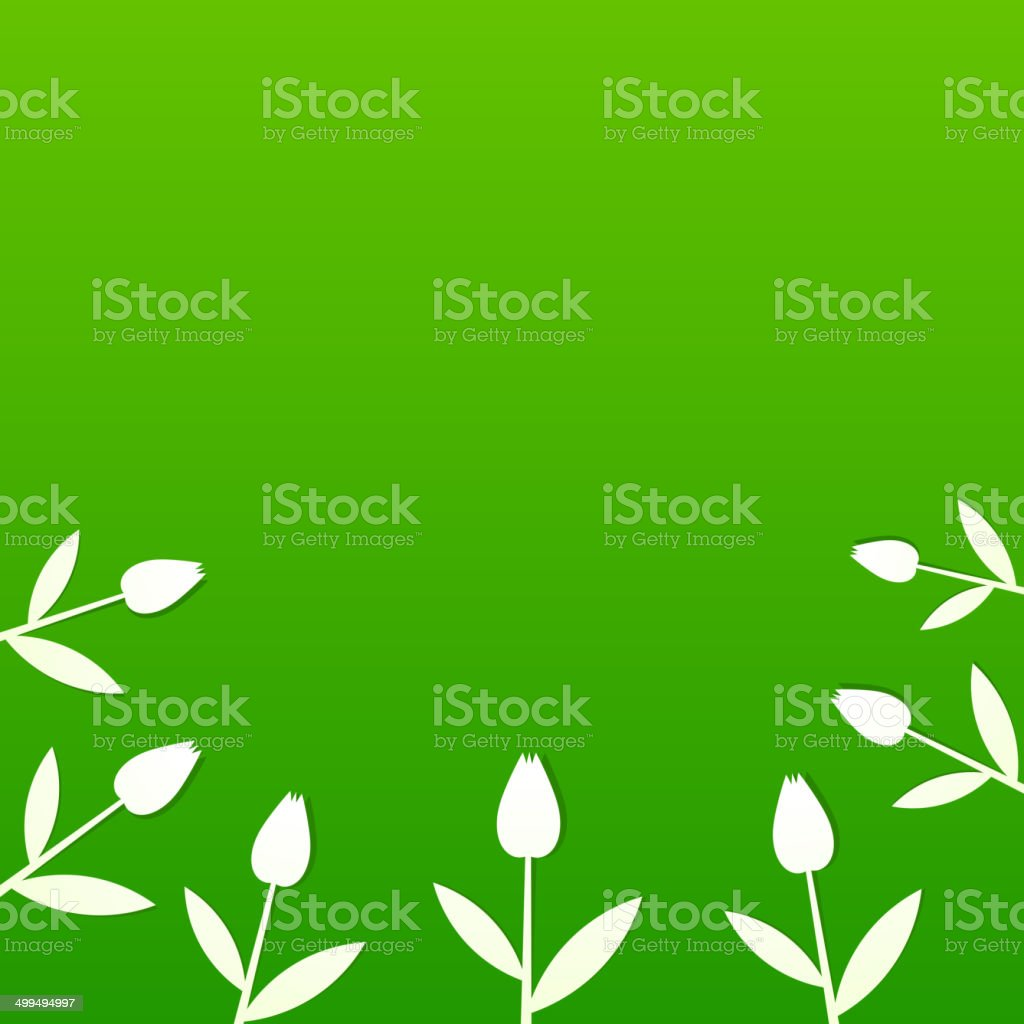 Green summer background with tulips vector art illustration