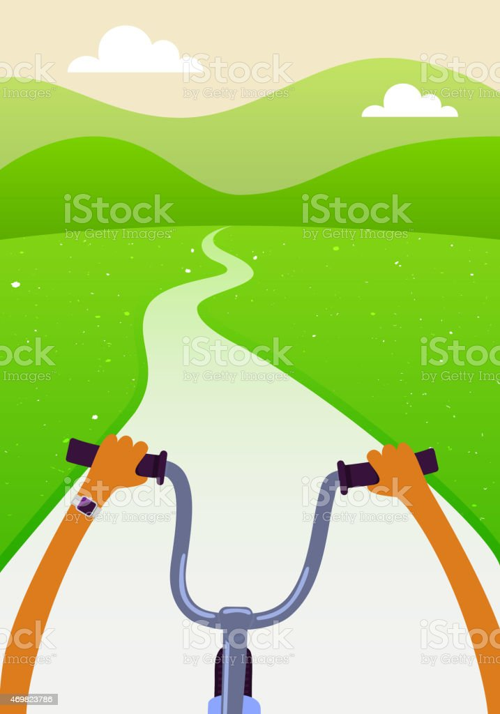 Green Summer Scenery with Сyclist vector art illustration