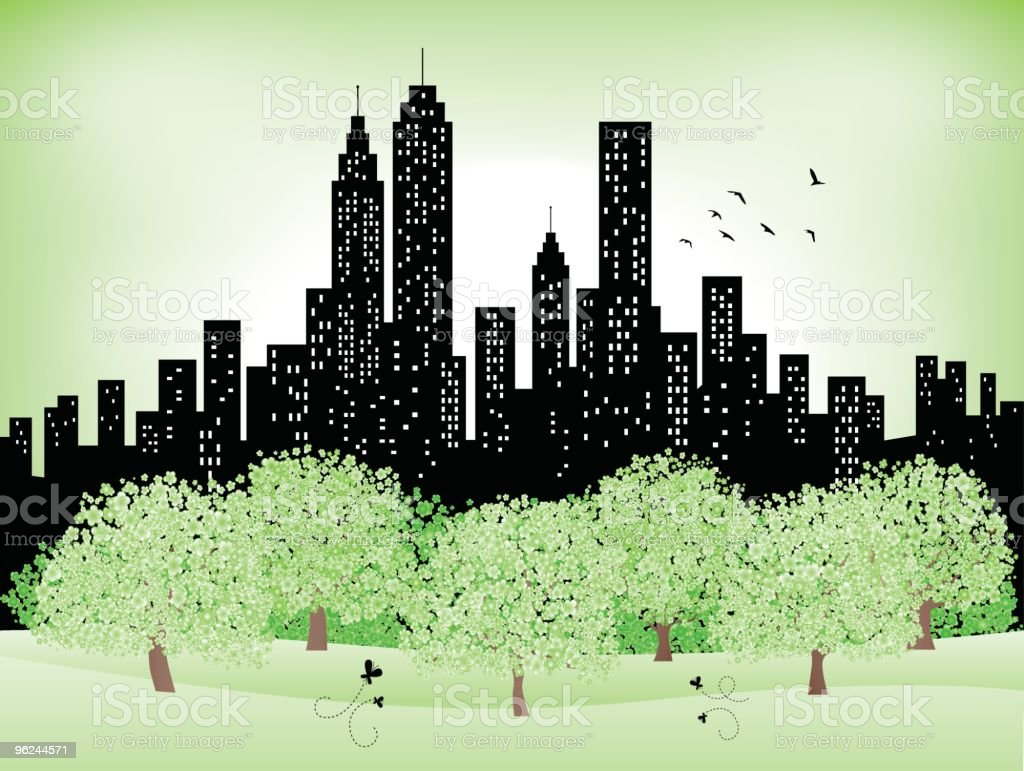 green summer,spring city Skyline silhouette, Park,trees illustration vector art illustration