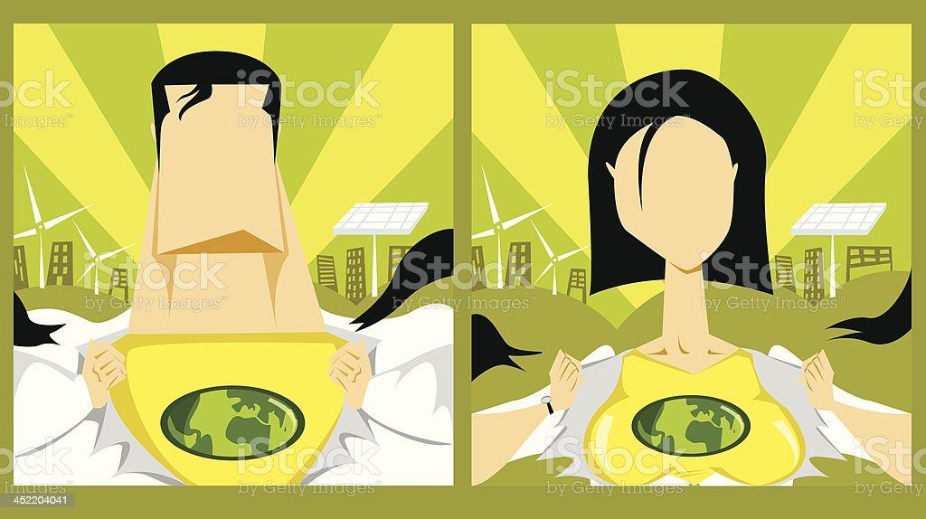 Green Superhero or Leader royalty-free stock vector art