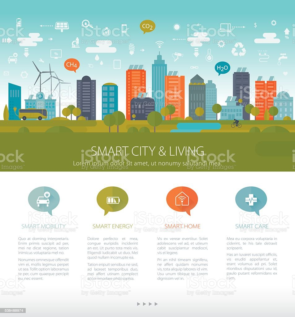 Green Sustainable City Template vector art illustration