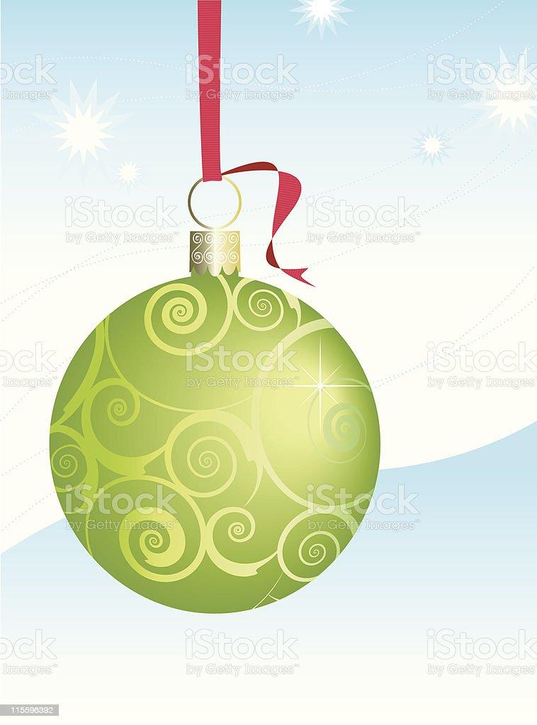 Green Swirly Christmas Ornament vector art illustration