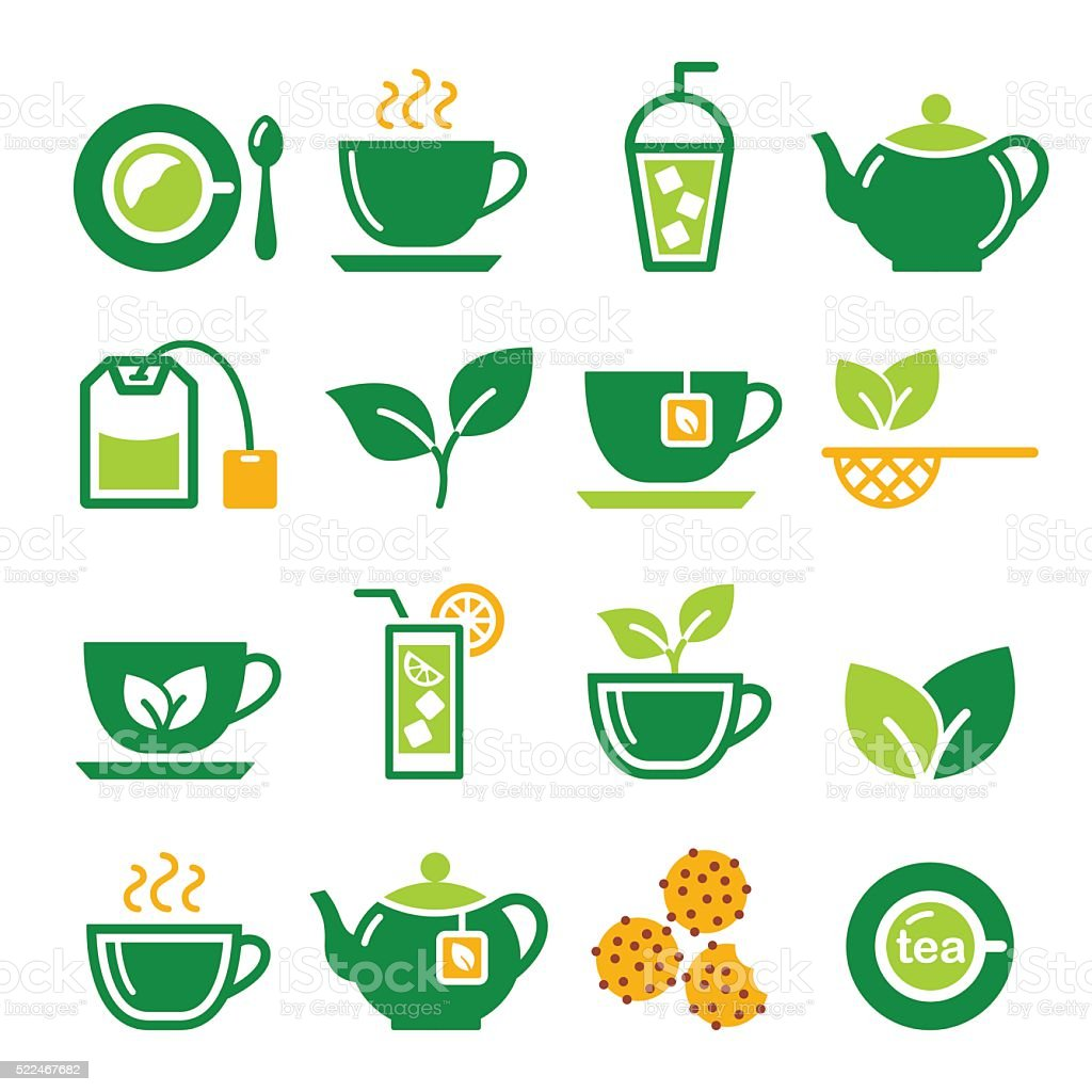 Green tea and ice tea vector icons set vector art illustration